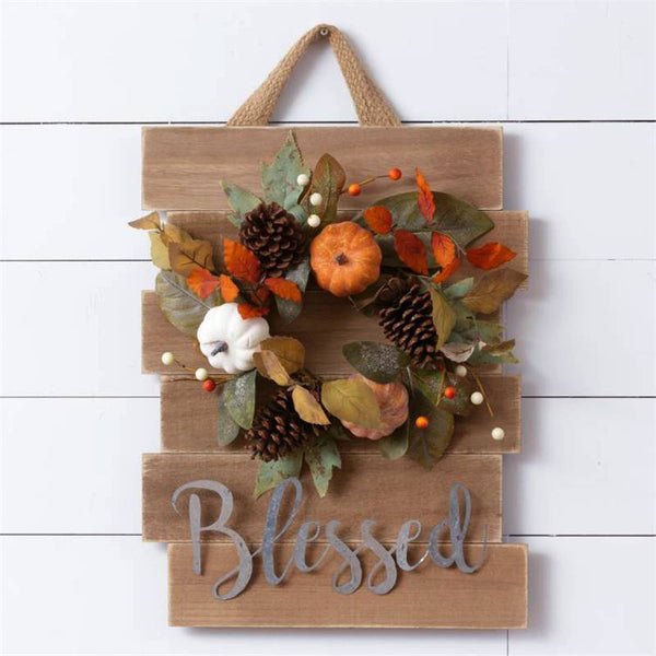 Blessed Fall Wreath Slat Sign 6WH749