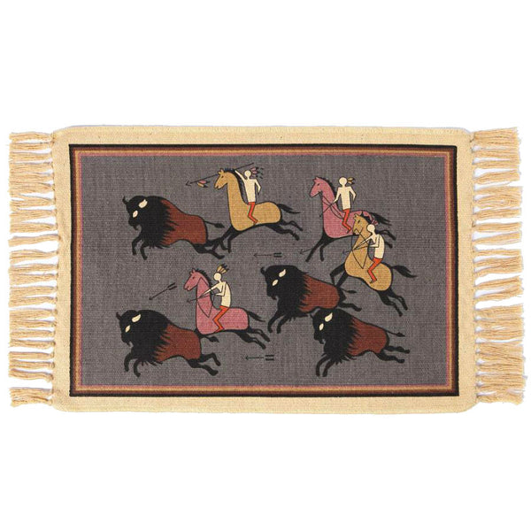 Bordered Buffalo Hunters Stencil Tapestry Placemat W-HIMAT306
