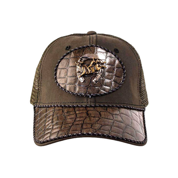 Brown Alligator Leather Horseshoe and Bull Rider Baseball Cap CAP-040