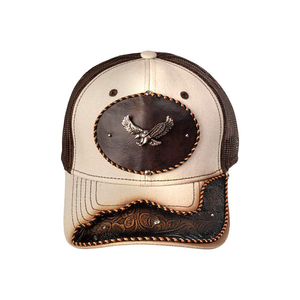 Brown and Tan Embossed Leather Eagle Baseball Cap CAP-025