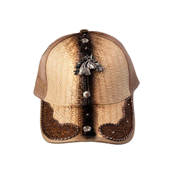 Brown and Tan Embossed Leather Horse Head Baseball Cap CAP-030