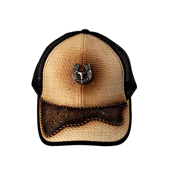 Brown and Tan Embossed Leather Horseshoe Steer Head Baseball Cap CAP-035