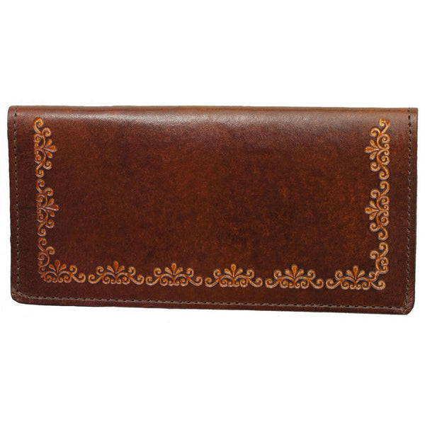 Brown Filigree Stamped Leather Checkbook Wallet LW-701/F