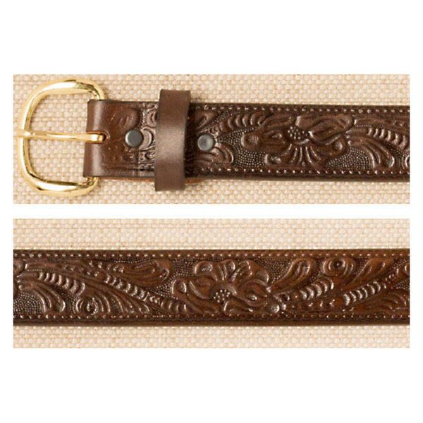 Brown Floral Tooled Leather Belt XM-5508