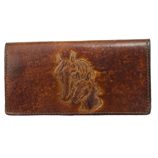 Brown Horsehead Stamped Leather Checkbook Wallet LW-701/horse