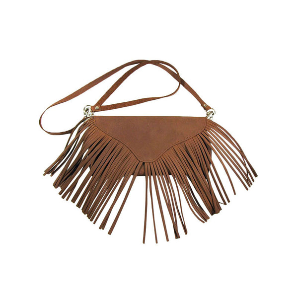 Brown Suede Leather Cross Body Fringe Purse LW-92