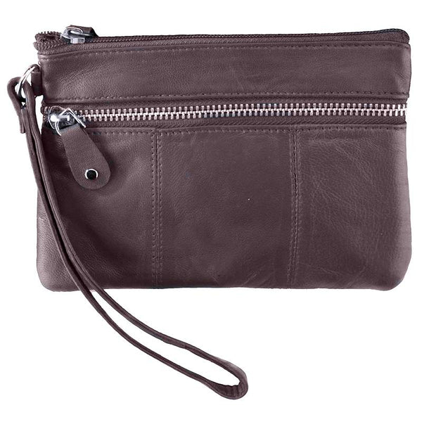 Brown Wristlet Zippered Handbag MIN-1019