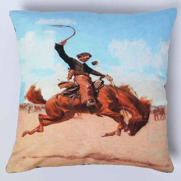 Bucking Bronco Horse and Rider Digital Print Pillow Cover DPC226