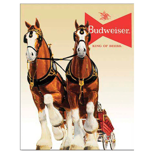 Budweiser Clydesdales Horse and Wagon Tin Sign SGN-405