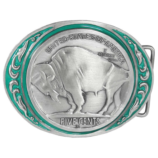Buffalo Coin Enameled Belt Buckle M-85