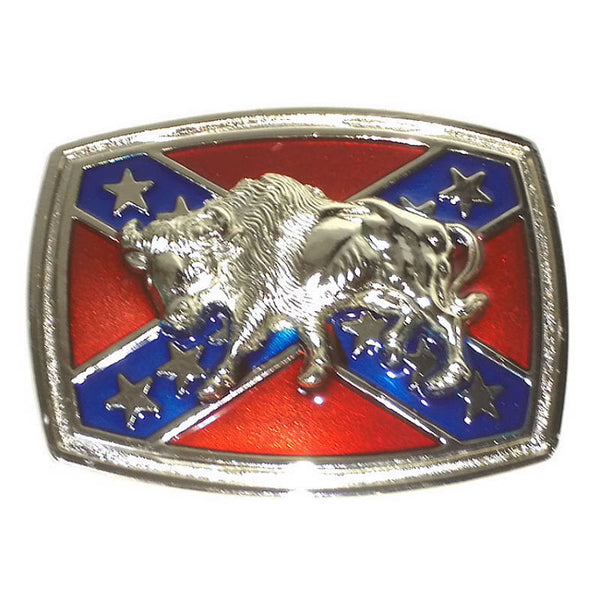 Buffalo on Stars and Bars Flag Belt Buckle BB118