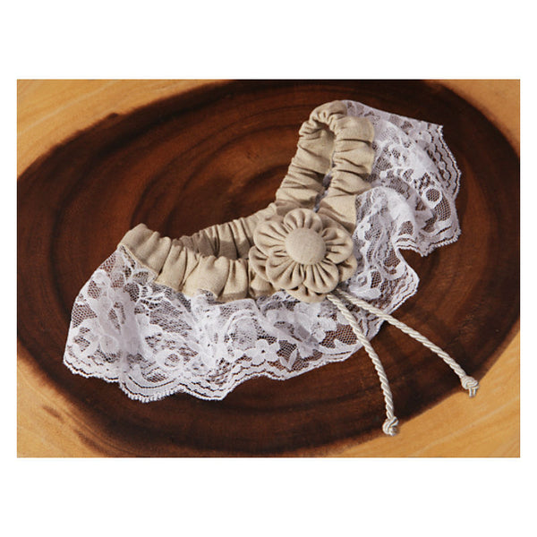 Burlap and Lace Bridal Garter 474