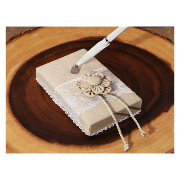 Burlap and Lace Bridal Pen and Holder Set 470