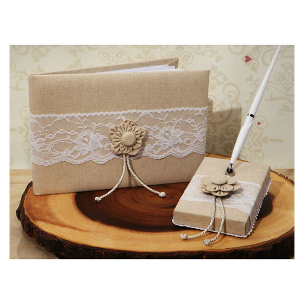 Burlap and Lace 3 Piece Guest Book Pen and Holder 475