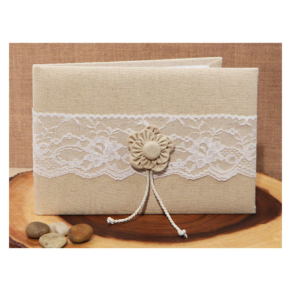 Burlap and Lace Guest Book 471