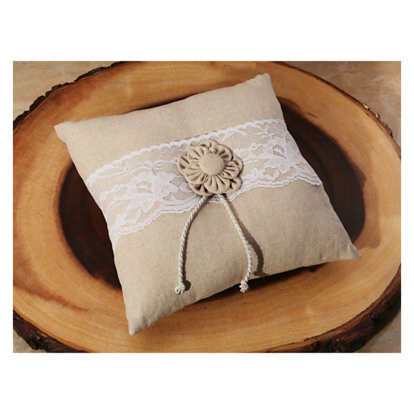 Burlap and Lace Ring Bearer's Pillow 473