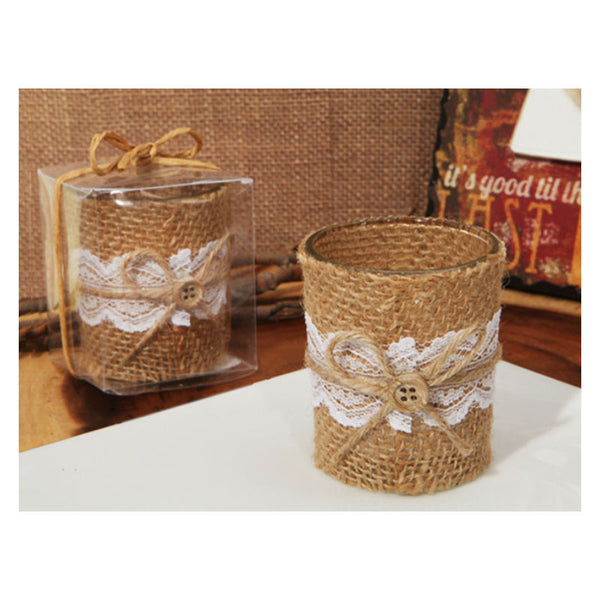 Burlap and Lace Wedding Candle Holder 1153