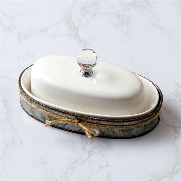 Ceramic Butter Dish with Galvanized Caddy 8PT1360