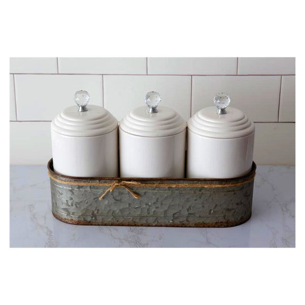 Ceramic Canisters with Galvanized Caddy 8PT1223