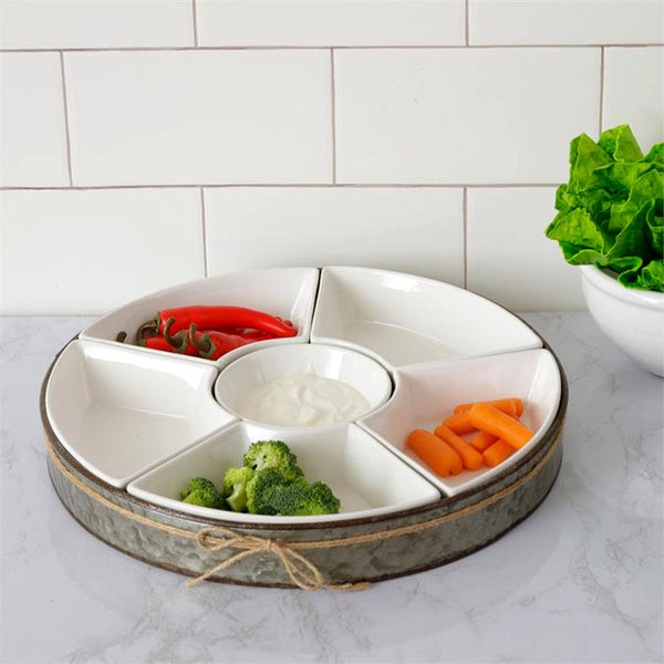 Ceramic Dip and Chip Bowl Set with Galvanized Tray 8PT1335