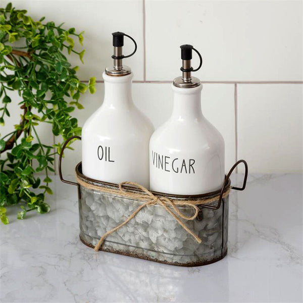 Ceramic Oil and Vinegar Cruets with Galvanized Caddy 8PT1327
