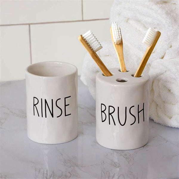 Ceramic Rinse & Brush Tumbler & Toothbrush Holder 8PT1401