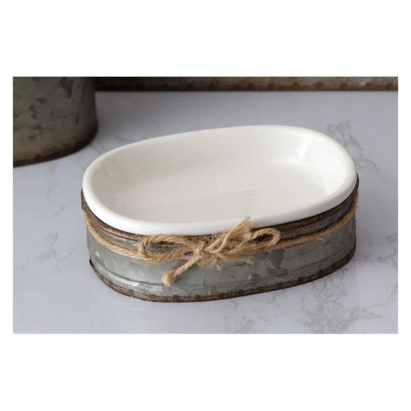 Ceramic Soap Dish with Galvanized Caddy 8PT1226
