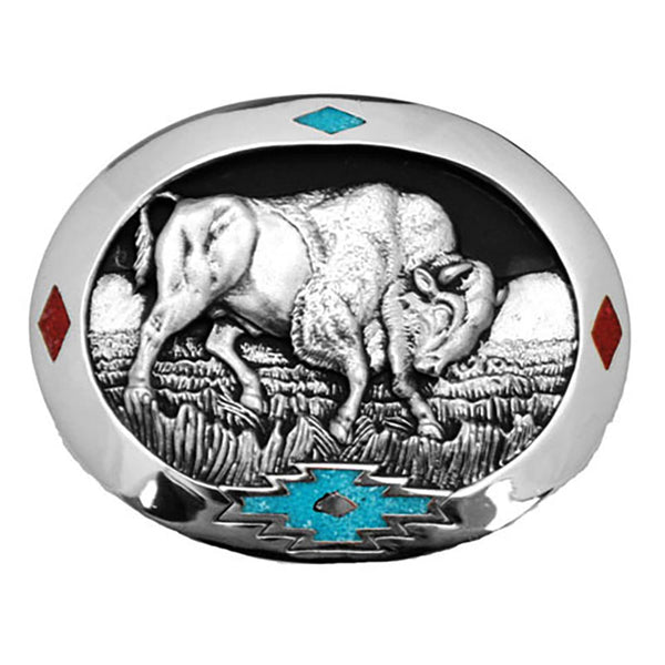 Charging Bull Turquoise and Coral Enamel Belt Buckle S-4984