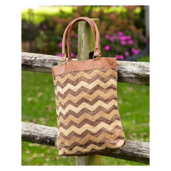 Chevron Pattern Canvas and Leather Tote Bag 8FA1056