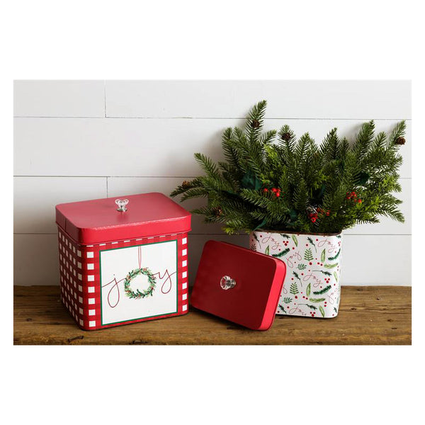 Christmas Joy Decorative Tins 7T1816