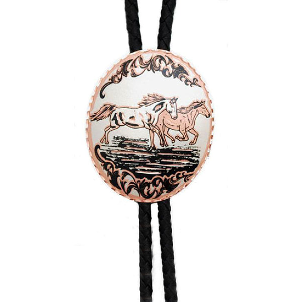Copper Horses Oval Medallion Bolo Tie BT-9330