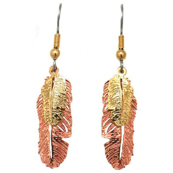 Copper Plated Double Feather Earrings E-161