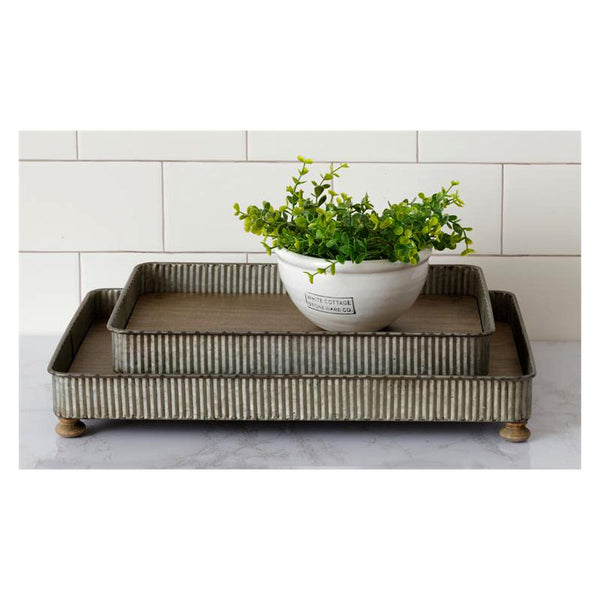 Corrugated Metal and Wood Serving Trays 8W3056