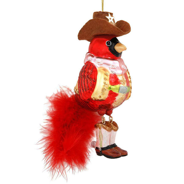 Cowboy Cardinal Glass Bird Ornament 1189586