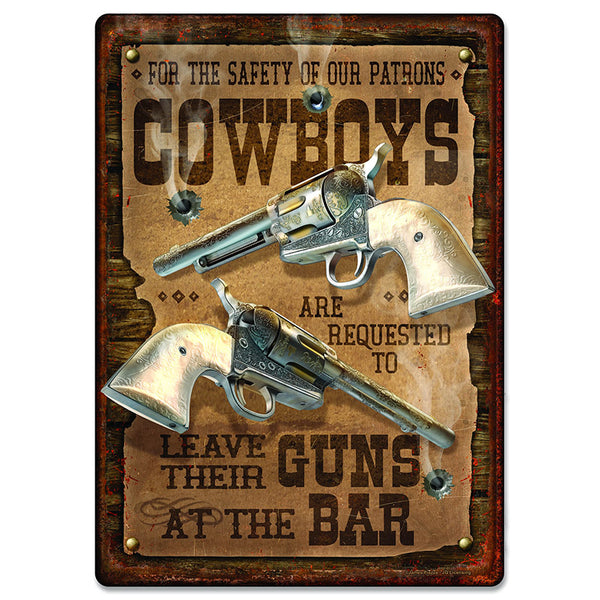 Cowboy Safety Tin Sign 2667