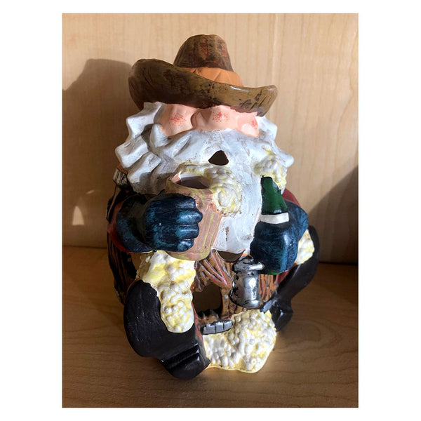 Cowboy Santa Barrel Candle Holder Luminary Santa01X