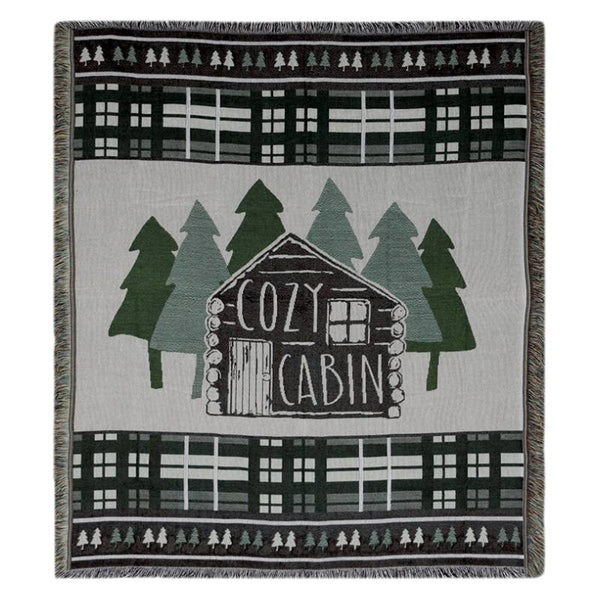 Cozy Log Cabin Tapestry Throw Blanket 2611