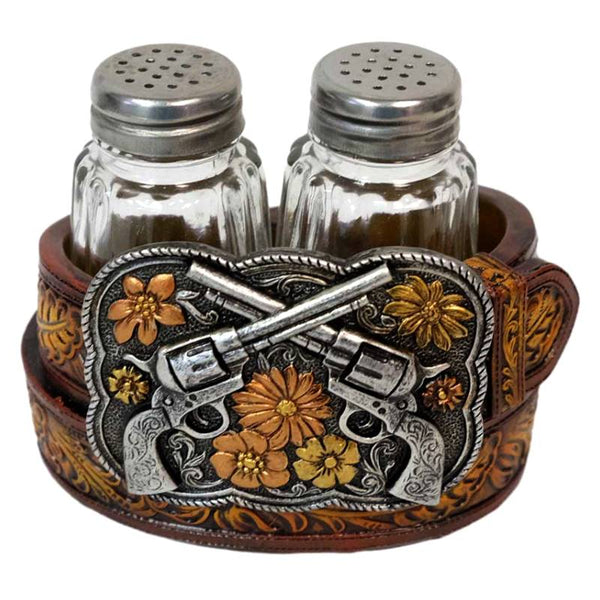 Crossed Pistols Belt Buckle Salt and Pepper Shakers Set DEC-13781
