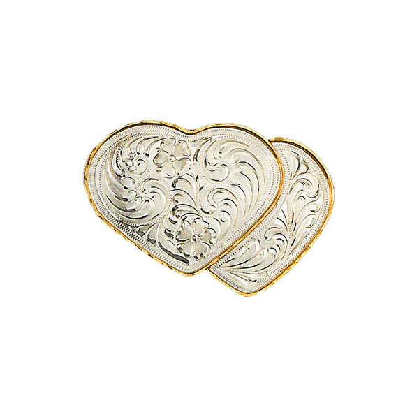 Double Heart German Silver & Gold Belt Buckle FR-896