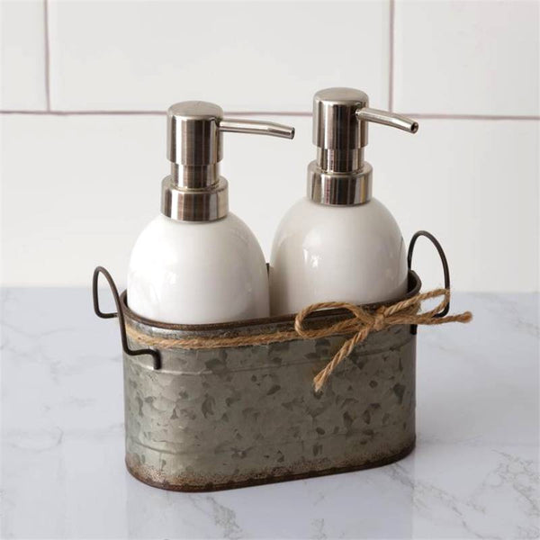 Double Soap Dispensers with Galvanized Caddy 8PT1224