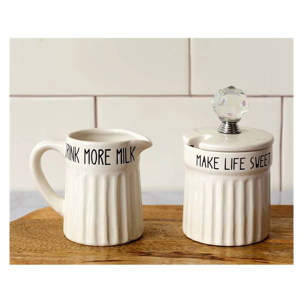 Drink More Milk Make Life Sweet Ceramic Cream and Sugar Jars 8PT1211