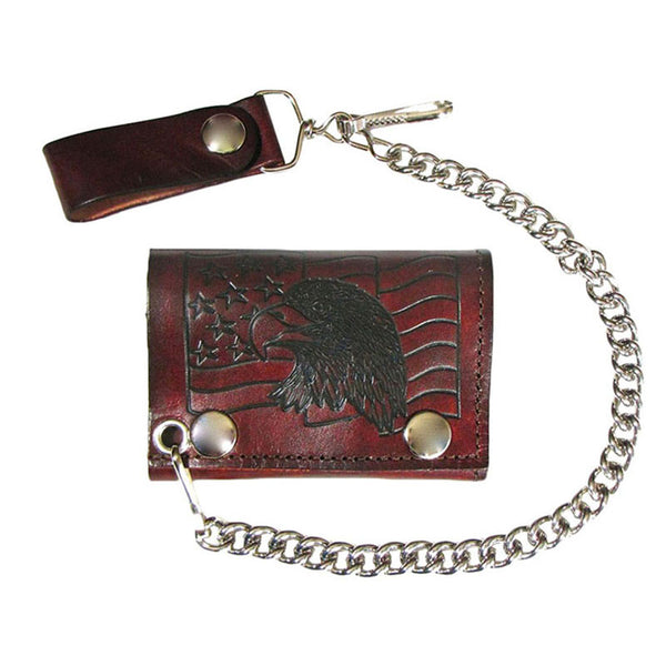 Eagle and Flag Brown Leather Chain Wallet LW-176