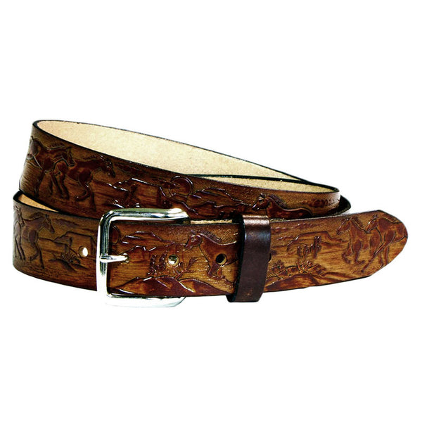 Embossed Horses Brown Leather Belt XM-5524
