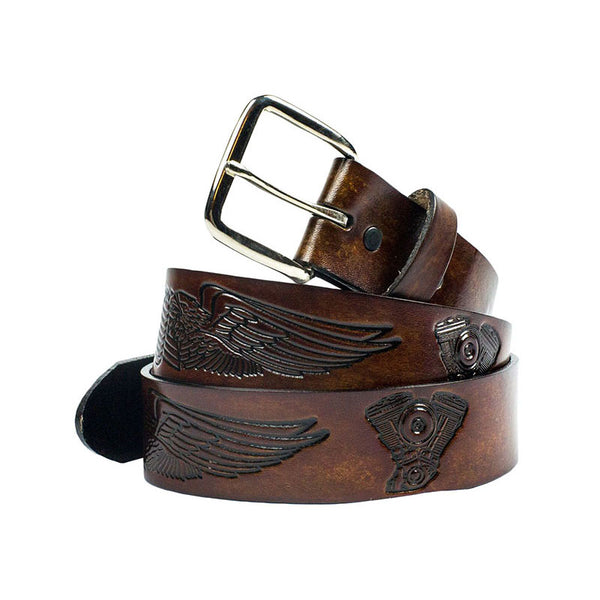 Engines & Wings Brown Leather Bikers Belt XM-912