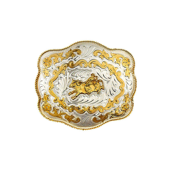 Extra Large German Silver & Gold Bullrider Belt Buckle FR-899
