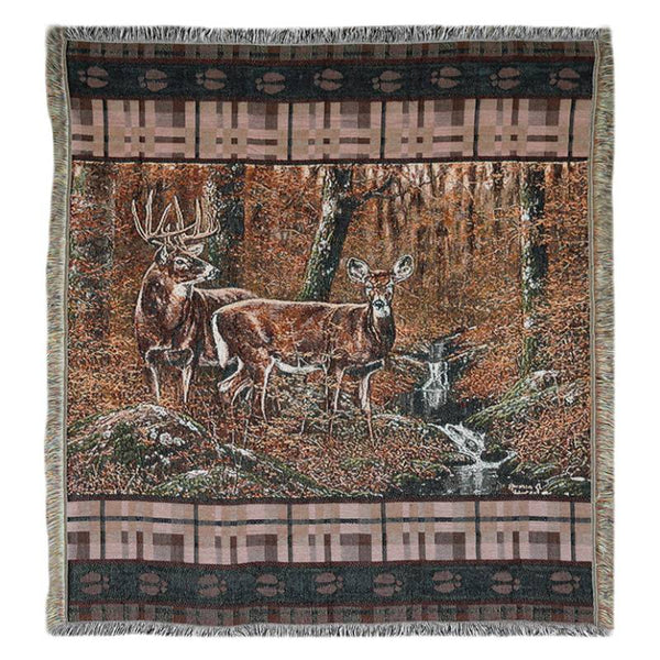 Fall Deer Tapestry Throw Blanket 2613