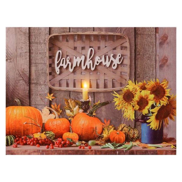 Fall Pumpkins and Sunflowers LED Canvas Art Print 6WH715