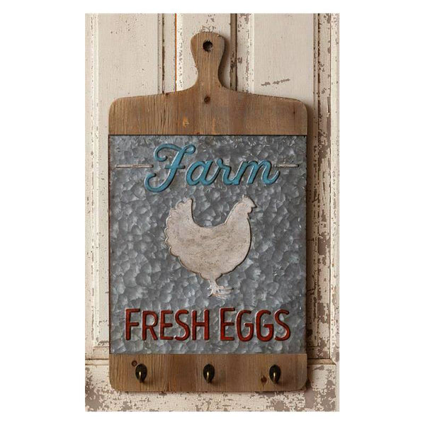 Farm Fresh Eggs Cutting Board Wall Hooks 8W2377