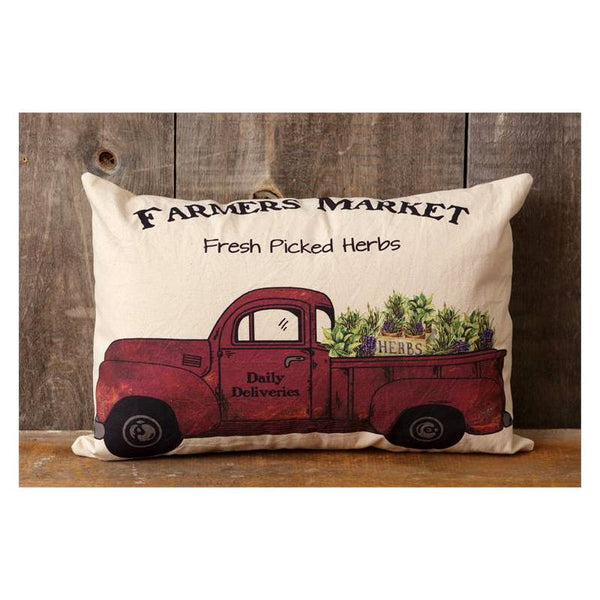 Farmers Market Red Pickup Throw Pillow 8P5861