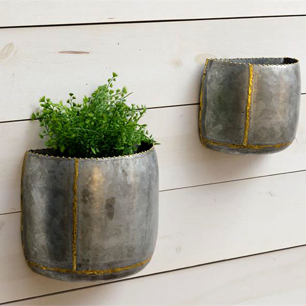 Galvanized and Gold Wall Planters 8T2123